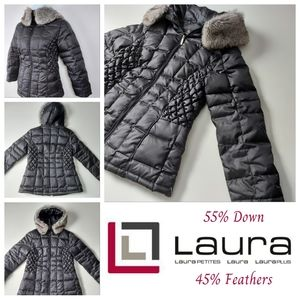Laura Petites Quilted Puffer Coat With Faux Fur